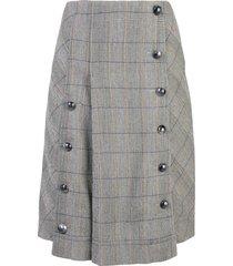 chloé button-front check skirt - grey