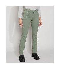 calça de sarja feminina cintura alta reta com bolsos verde