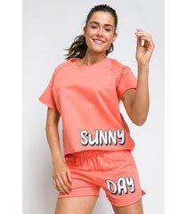 pijama manga curta acuo pijama manga curta laranja - laranja - feminino - dafiti