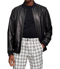 men's topman leather bomber jacket, size x-small - black