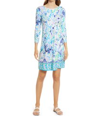 women's lilly pulitzer ophelia floral long sleeve knit dress, size large - white
