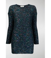saint laurent sequin embroidery fitted dress