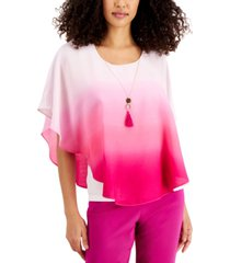 jm collection dip-dyed poncho-style top, created for macy's