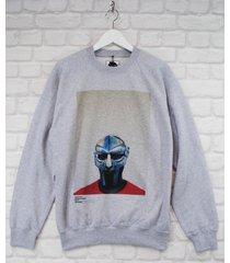 actual fact mf doom steel mask red blue grey crew neck rap sweatshirt jumper