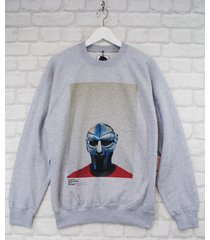 actual fact mf doom steel mask red blue grey crew neck rap sweatshirt jumper