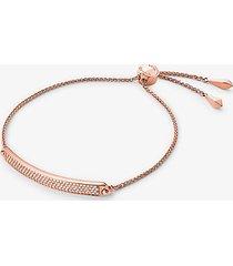 mk braccialetto con cursore in argento sterling con placcatura in metallo prezioso placchetta e pavé - oro rosa (oro rosa) - michael kors