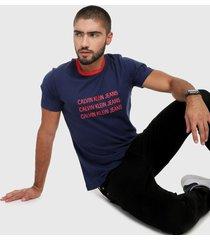 camiseta azul-rojo calvin klein