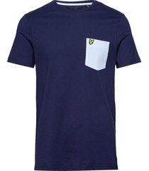 contrast pocket t shirt t-shirts short-sleeved blå lyle & scott