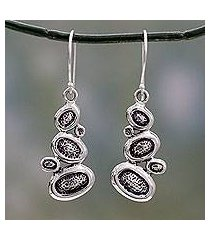 sterling silver dangle earrings, 'pebbles on the beach' (india)