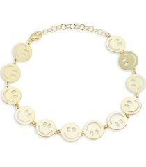 chloe & madison women's 14k goldplated sterling silver smiley face bracelet
