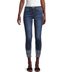 miss me women's mid-rise embroidered ankle skinny jeans - dark blue - size 24 (0)