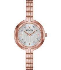 bulova women's rhapsody diamond-accent rose gold-tone stainless steel bracelet watch 30mm