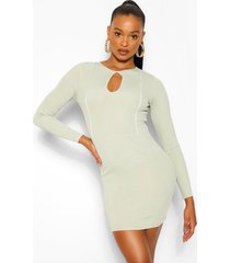 contrast stitch rib keyhole mini dress, sage