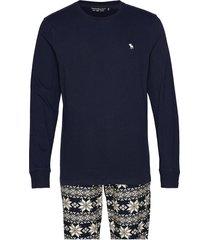 long slv sleep gift set pyjamas blå abercrombie & fitch