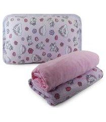 jogo de cama sulbrasil berço em malha 3 peças - unicórnio