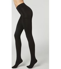 calzedonia thermal super opaque tights woman black size xl
