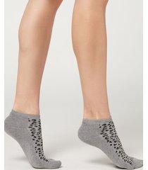 calzedonia animal print sport no-show socks woman grey size tu