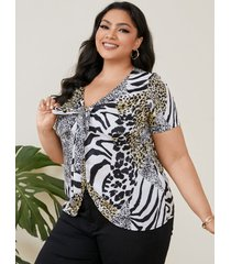 camicetta casual con scollo a v annodato con stampa leopardata zebrata plus size