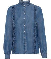 camicia in tencel™lyocell con ruches (blu) - bodyflirt