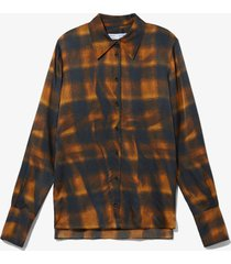 proenza schouler white label wavy plaid hammered satin shirt /yellow 6