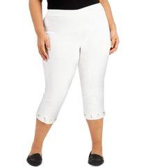 jm collection plus size grommet-hem tummy-control capri pants, created for macy's