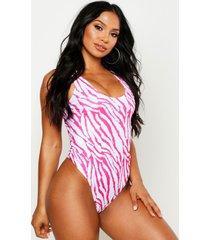 badpak met tijgerprint en diepe ronde rug, roze