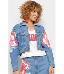 jaqueta cropped jeans farm floral baiano refarm feminina