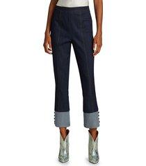 elizabeth and james women's sheena button-cuff cropped jeans - indigo - size 6