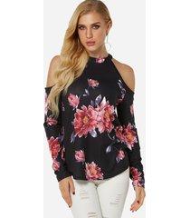 blusas de manga larga con hombros descubiertos y estampado floral recortado en negro