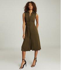 reiss effie - utility shirt midi dress in khaki, womens, size 14