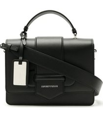 emporio armani bolsa tiracolo de couro - preto