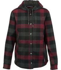 wolverine women's cheyenne bonded sherpa shirt jac cranberry plaid, size s