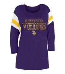 5th & ocean minnesota vikings women's sleeve stripe three quarter raglan t-shirt