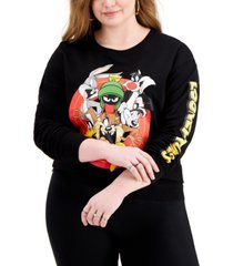 love tribe trendy plus size looney tunes graphic-print sweatshirt