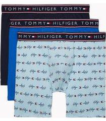 tommy hilfiger men's cotton stretch boxer brief 3pk navy/aquamarine/nautical blue - m