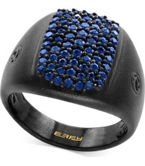 effy men's sapphire cluster ring (1-1/3 ct. t.w.) in black rhodium-plated sterling silver