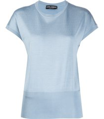 dolce & gabbana ribbed-details knitted t-shirt - blue