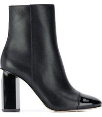 michael michael kors patent toe cap ankle boots - black