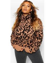 plus leopard jacquard roll neck sweater, tan
