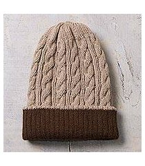 reversible 100% alpaca hat, 'warm and comfy' (peru)