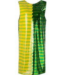 green and yellow sequin mini dress