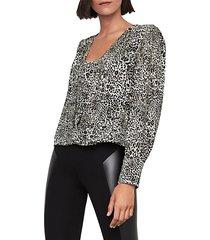 leopard-print puff-sleeve blouse