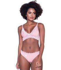 conjunto click chique sexy cropped rendado rosa