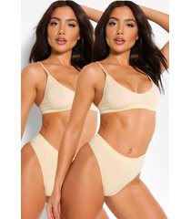 2 pack seamfree triangle bralette, nude