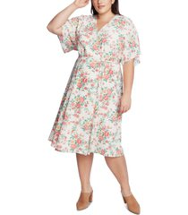 1.state trendy plus size floral-print wrap dress
