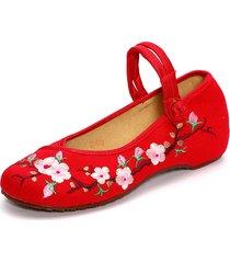 ricamata con stampa floreale su tela slip on retro pigri scarpe