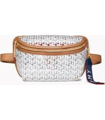 tommy hilfiger women's monogram transparent fanny pack transparent/cognac -