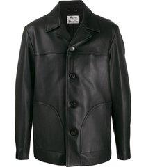 acne studios straight leather jacket - black