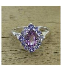 amethyst and tanzanite cocktail ring, 'sweet purple' (india)