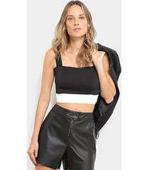 top cropped open malha basic colchete